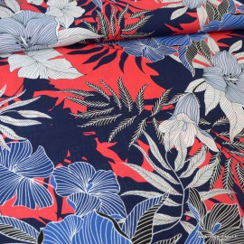 Tissu Rayon fluide motifs feuilles et fleurs marine et rouge - au mètre