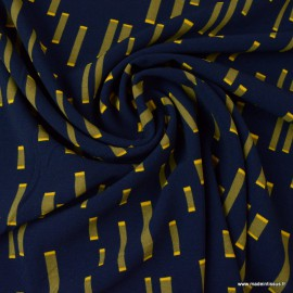 Tissu crêpe de luxe à rayures fond bleu marine