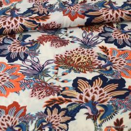 Tissu Viscose Eloise motif fleurs marine et tomette