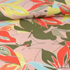 Tissu viscose Lin motif fleurs fond rose - au mètre