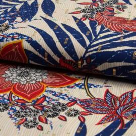Tissu crêpe fluide imprimé fleurs bleu et rouge et Lurex or