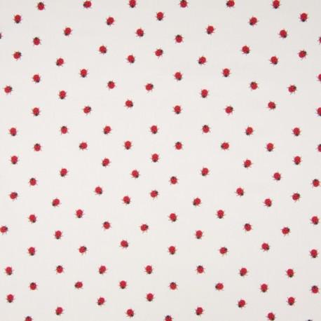 Tissu Popeline motifs Coccinelles fond Blanc - Oeko tex
