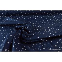Tissu coton oeko tex  imprimé étoiles bleu marine au mètre