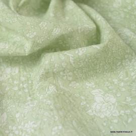 Tissu Popeline Crinkle motifs fleurs fond vert tilleul - Oeko tex