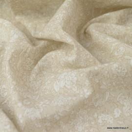 Tissu Popeline Crinkle motifs fleurs fond Lin - Oeko tex