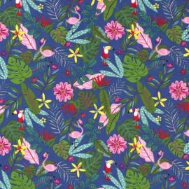 Tissu jersey motifs Feuilles de palme, perroquets et flamants fond bleu - Oeko tex