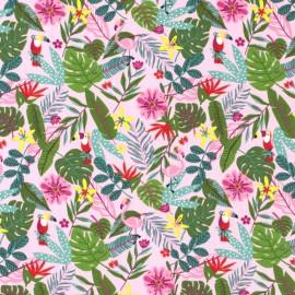 Tissu jersey motifs Feuilles de palme, perroquets et flamants fond rose - Oeko tex