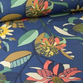Tissu Toile de coton Canva imprimé Fleurs fond Indigo - Oeko tex