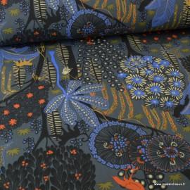 Tissu Toile de coton Canva imprimé Forêt exotique et animaux fond Anthracite - oeko tex