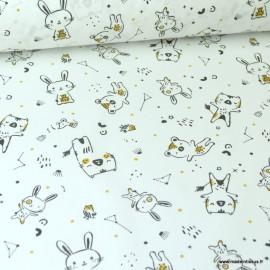 Tissu coton motifs Lapin et animaux noir, ocre et blanc - Oeko tex