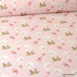Tissu coton motifs Lapin et Libellules fond Rose Blush - Oeko tex