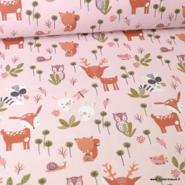 Tissu coton motifs Biches,oiseaux, Lapin et Libellules fond Rose Blush - Oeko tex