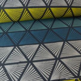 Tissu ameublement jacquard Triangles bleu, jaune et gris