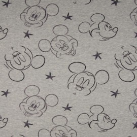 Tissu sweat jersey Frenchterry motifs Disney Minnie Noir fond Gris - Oeko tex