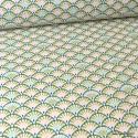 Tissu coton Enduit  imprimé écailles Bronze et Paon - Yona -  Oeko tex