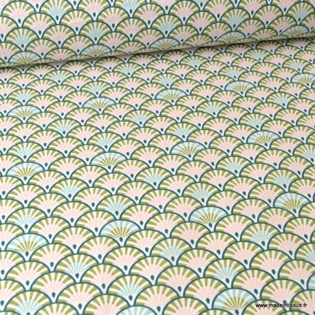 Tissu coton Enduit  imprimé Grues oiseaux fond Nil -  Oeko tex