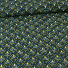 Tissu coton Enduit Ginza nuit et Bronze -  Oeko tex