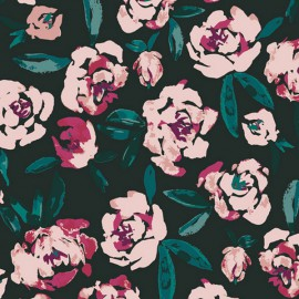 Tissu Popeline coton imprimé fleurs roses fond Marine de BONNIE CHRISTINE pour Art Gallery Fabrics