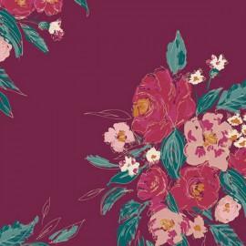 Tissu Popeline coton imprimé fleurs fond Framboise de BONNIE CHRISTINE pour Art Gallery Fabrics
