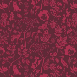 1 coupon de 80 cm de Tissu Popeline coton imprimé animaux fond Framboise de BONNIE CHRISTINE pour Art Gallery Fabrics