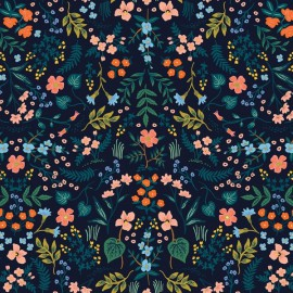 Tissu coton imprimé fleurs fond marine Cotton and Steel - Rifle Paper