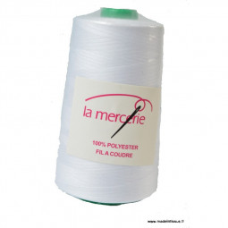Cône de fil à coudre 100% polyester BLANC - 5000 m
