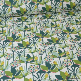 Tissu coton motif oiseaux et feuilles et arbres vert - Oeko tex Edbird