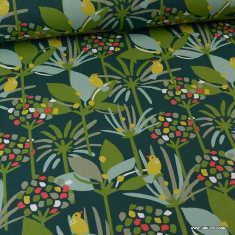 Tissu coton motif oiseaux et feuilles et arbres fond vert - Oeko tex - Edbono