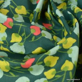 Tissu coton motif Kisnek fond vert palmier - Oeko tex