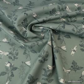 Tissu Popeline en coton Bio & oeko tex motifs Libellules fond vert Céladon
