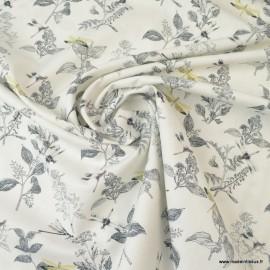 Tissu Popeline en coton Bio & oeko tex motifs Libellules fond Blanc