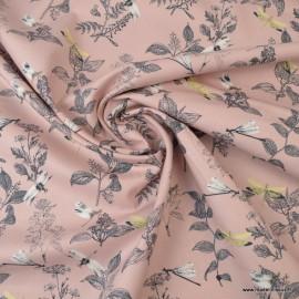 Tissu Popeline en coton Bio & oeko tex motifs Libellules fond Rose poudré