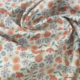 Tissu Popeline en coton Bio & oeko tex motifs Fleurs fond Blanc