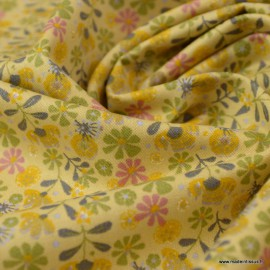 Tissu Popeline en coton Bio & oeko tex motifs fleurs fond jaune