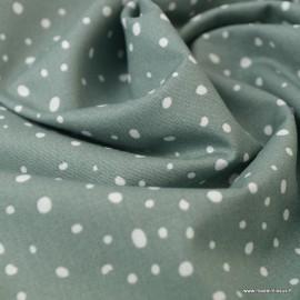 Tissu Popeline en coton Bio & oeko tex à pois fond vert céladon