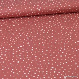 Tissu Popeline en coton Bio & oeko tex à pois fond Terracotta