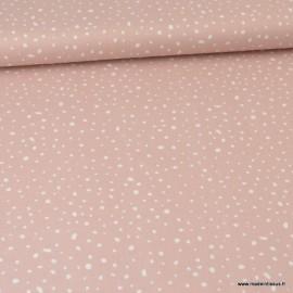 Tissu Popeline en coton Bio & oeko tex à pois fond rose
