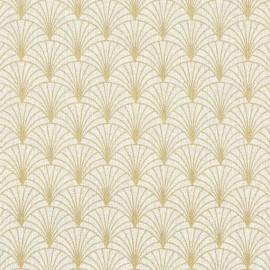 Tissu toile aspect lin motifs éventails Lurex Or fond naturel - Oeko tex