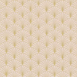 Tissu toile aspect lin motifs éventails Lurex Or fond Rose - Oeko tex