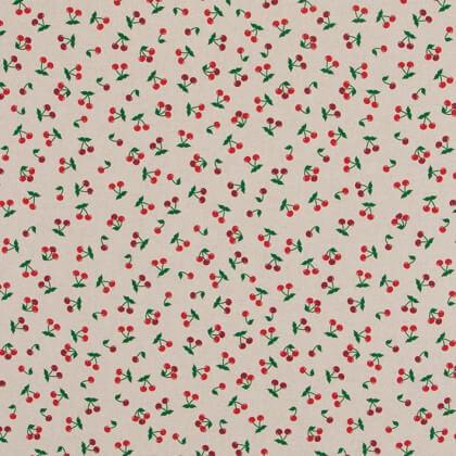Tissu toile aspect lin motifs cerises - Oeko tex