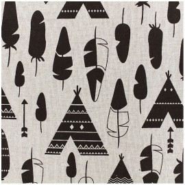 Tissu toile aspect lin motifs Tipis - Oeko tex
