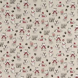 Tissu toile aspect lin motifs Chiens - Oeko tex