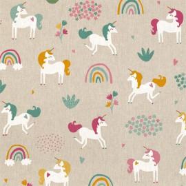 Tissu toile aspect lin motifs Licorne - Oeko tex