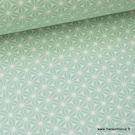 Tissu cretonne coton Menthe imprimé tendance japonaise