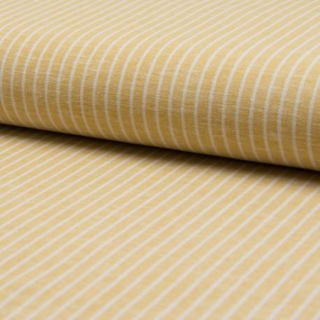 Tissu Lin à rayures ocre et blanc