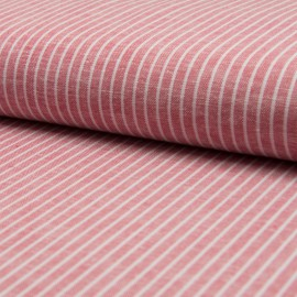 Tissu Lin à rayures Rouge et blanc