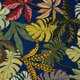 Tissu Viscose Rayon motif fleurs type Wax bleu et jaune
