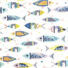 Tissu popeline Oeko tex motifs Poissons colorés - oeko tex