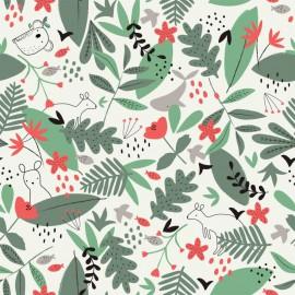 Tissu jersey Oeko tex imprimé Kangourous et koalas vert et grenadine - Kaki Katia Fabrics