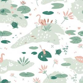 Tissu jersey Oeko tex imprimé Tortues, nénuphars et cygnes - Kaki Katia Fabrics